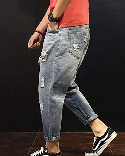 Look Ropa Sueltos Usado De Fit La De Pantalones Stretch Pantalones Ocasionales Vendimia Denim De Ripped Hellblau Jeans De Pantalones Destroyed Slim Hombres Jeans Harén Los w0zBBq8