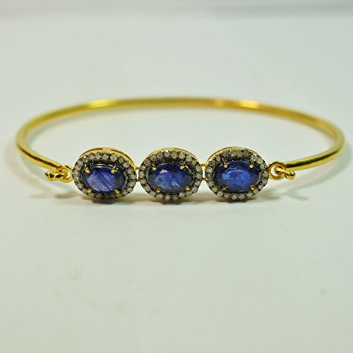 Sapphire Bangle, Gold Plated Pave Diamond Sapphire Gemstone Bangle, Women's Diamond Bangle by Jaipur Handmade Jewelry