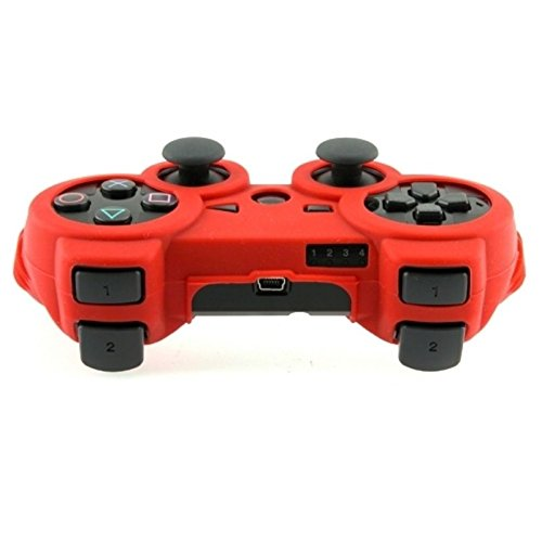 Insten Silicone Skin Case Compatible With Sony PS3 Controller, Red