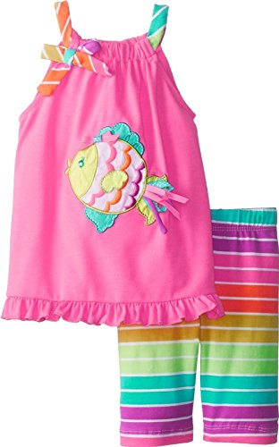 Rare Editions Girls PINK NEON RAINBOW FISH Size 2T-6X Top Capri Pants (6) ()