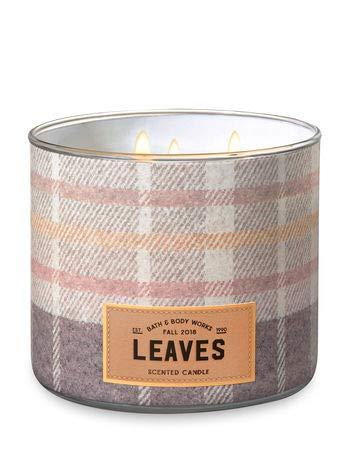White Barn Bath & Body Works 3 Wick Candle Leaves - Plaid Design