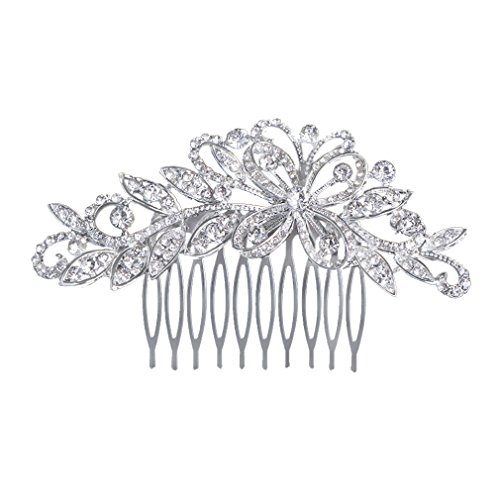 GSM Accessories European Style Wedding Rhinestone Olive Branch Ribbon Alloy Bridal Hair Comb - Branch Mall Olive