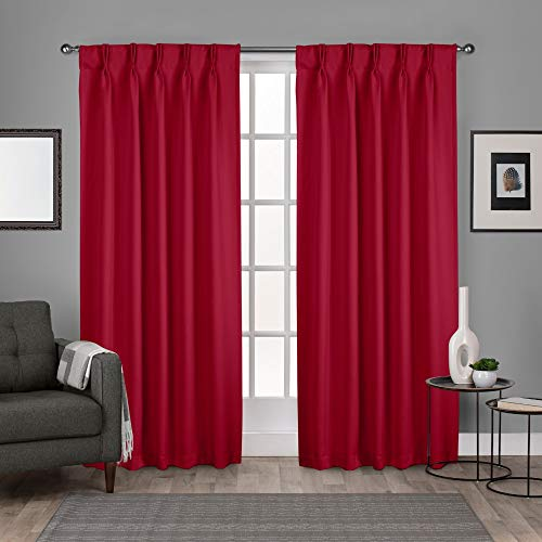(Exclusive Home Curtains Sateen Woven Blackout Window Curtain Panel Pair with Pinch Pleat Top, 84