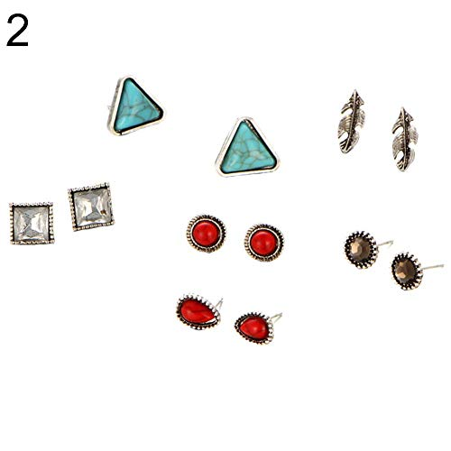 - Yevison Premium Quality 6 Pairs Turquoise Rhinestone Inlay Triangle Geometric Ear Studs Earrings Set Gift for Women Square