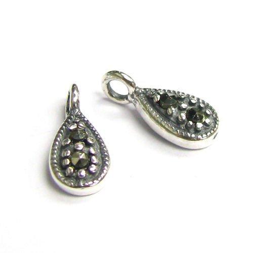 2 pcs .925 Sterling Silver Marcasite Chandelier Tear Charm Pendant/Findings/Antique