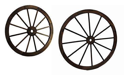 Pair of Wooden Wagon Wheel Decorative Wall Hangings 24 and 32 (Decorative Wagon Wheels)