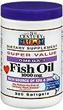 21st Century Omega-3 Fish Oil 1000 mg Softgels 300 ea (Pack of 2)