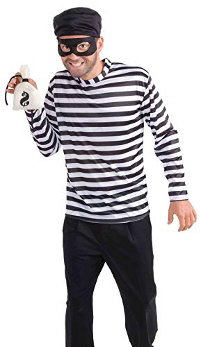 Men's Burglar Costume, White/Black, One Size]()