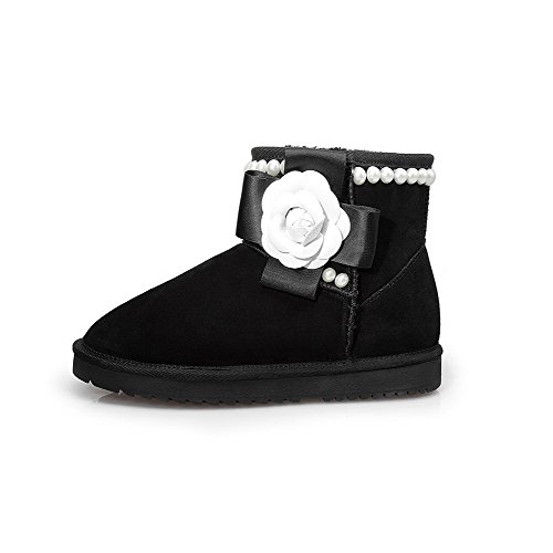 AmoonyFashion Womens Round-Toe Closed-Toe Low-Heels Boots With Slipping Sole and Bowknot Black CYKY8kp