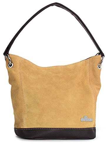 LiaTalia Womens Girls Handmade Single Handle Real Italian Suede Leather Medium Hobo Handbag Purse - Denise [Orange (2018)] -