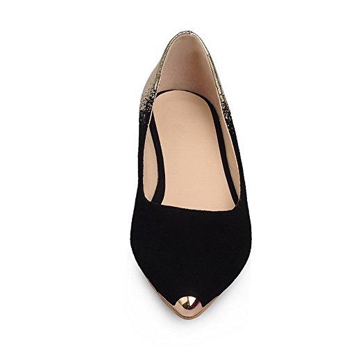 AllhqFashion Mujer Gamuza Tacón Bajo Esmerilado Slip-on Puntera de Acero ZapatosdeTacón Negro