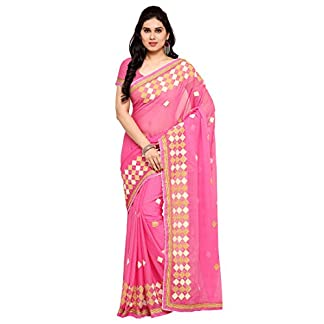 Styles Closet Pink Colour Chiffon Embroidered Saree 41b1LIEf6fL