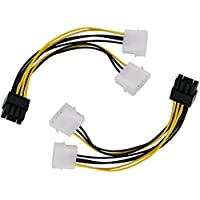 HXDZFX 2PCS 8 Pin to Dual 4 Pin Power Cable Graphics card Power Cable-7 Inches