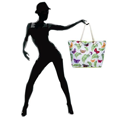 Farfalle Mano Ts1055 Spiaggia Xl Delle Caspar Luce Fantasia Da Di Donne Verde Borsa Colorate Shopper Hawaii fp0dZx