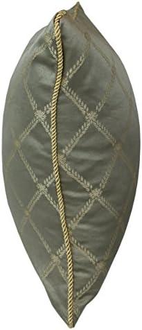 Violet Linen DIAMOND DAMSK-C Diamond Damask Decorative Throw Pillow, 18 X 18 , Green