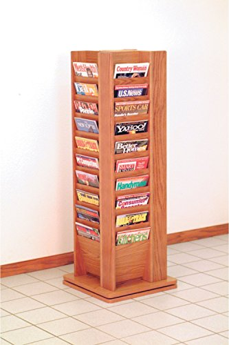 Wooden Mallet Cascade Revolving Floor 40 Books Magazine Holder Display Shelf Rack Stand Furniture in Medium Oak electronic consumers