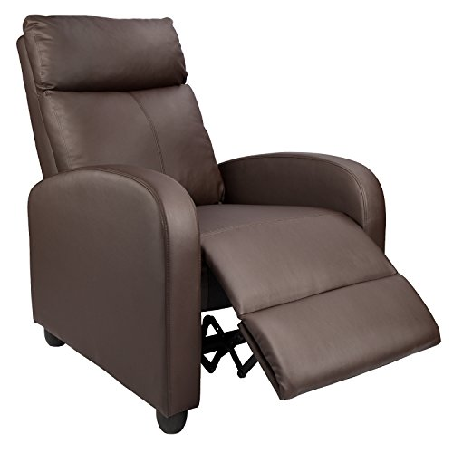Homall Manual Recliner Chair Padded PU Leather Home Theater Seating Modern Chaise Couch Black Lounger Sofa Seat (Brown) - Seat Black Leather Home Theater