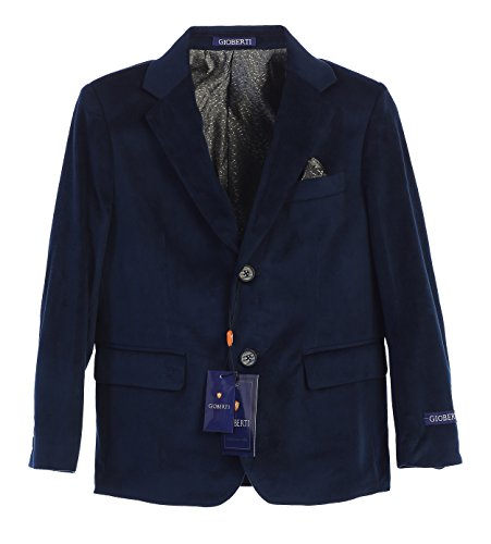 (Gioberti Big Boys Formal Velvet Blazer with Designed Buttons, Navy, Size)