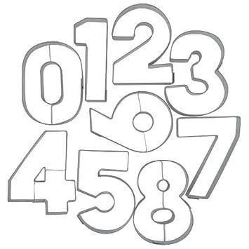 Caolator – Juego de 9 moldes para galletas de números de acero inoxidable, molde para galletas de números para decorar tartas: Amazon.es: Bricolaje y ...