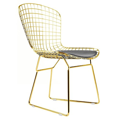 Bertoia Style Side Chair In Gold Finish (Grey Pad)
