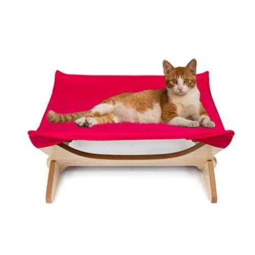 (Hide on bush Cat Window Perches, Cat Seat Bed Hammock Space Saving Design with Cat Shelves All Around 360° Sunbath,Square Mat Four-Pointed Cat Hammock Wooden Removable (Hot Pink))