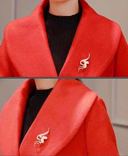 Dames Rouge Manteau Chaud Femme Revers Ab Dames Et Veste Coupe Longue Manteau Élégante Laine vent Coton D'hiver D'automne Hiver Automne De ZqnwdR1
