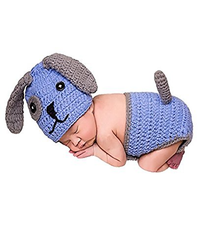 UOMNY Baby Newborn Photography Props Handmade Cute Blue Dog Crochet Knitted Unisex Baby Outfit Set