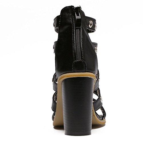 Sandali delle donne YCMDM tacchi alti cinturino alla caviglia Pompe combinazione di pelle Scarpe romano rivetto fibbia Court Shoes , black , 39