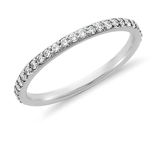 Venetia Realistic Top Grade Hearts and Arrows Cut Simulated Diamond Ring Semi Eternity Stackable Band 925 Silver Platinum Plated cz cubic zirconia bd65