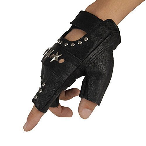 ORVR PU Leather Hip hop punk gloves Fingerless Performance Gloves Halloween gloves by ORVR
