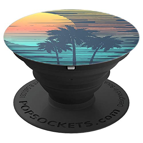 Tropical Punch - Stylized palm trees at sunset - PopSockets Grip and Stand for Phones and -