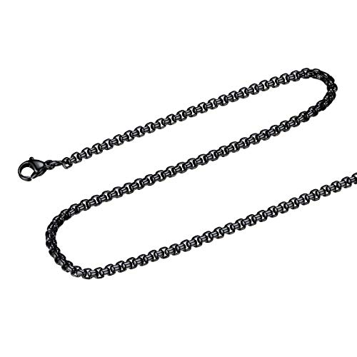 FOCALOOK 3MM Stainless Steel Mens Womens Black Round Box Necklace Square Rolo Chain, 24 inches ()
