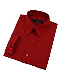 Johnnie Lene Boy's Long Sleeves Solid Dress Shirt