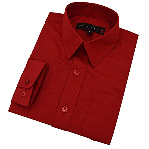 Baby Boy's Long Sleeves Solid Dress Shirt #JL32 (12 Months, Red)]()