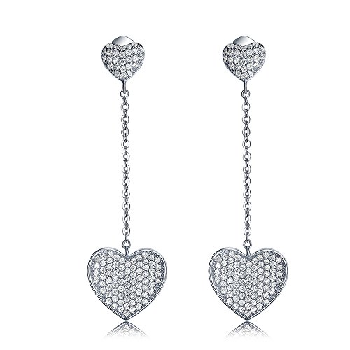 "Sterling Silver Pave Cubic Ziconia Heart Shape Dangle Earrings, Licliz Double Heart Full CZ Long Drop Earrings 1.7"" (Double Heart Dangle Earrings)"