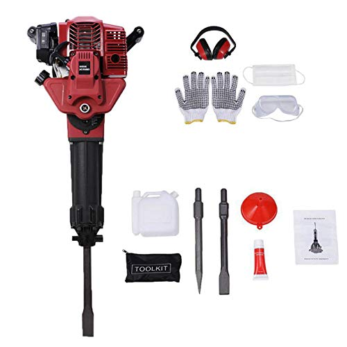 TOPAUP 52CC Gas Powered Drill Jack Hammer Gasoline Demolition Jack Hammers Breaker Flat Chisel Punch Single Cylinder Gloves Air Cooling from TOPAUP