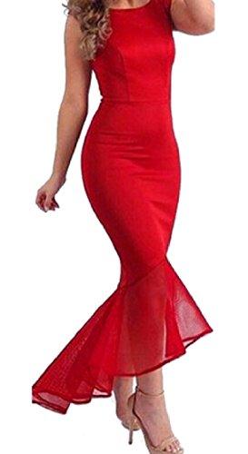 Coolred-femmes Sans Manches Épissage Ourlet Irrégulier Maille Paquet Rouge Sexy Robe De La Hanche