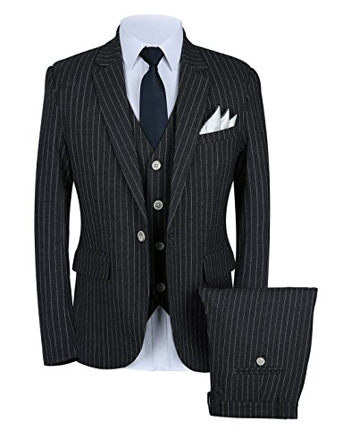 Pinstripe Pants Suit (Mens Pinstripe Suit 3 Piece Slim Fit Casual Dress Suits Blazer+Vest+Pants US Size 34 (Label XL) Black)