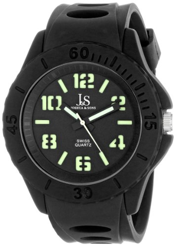 Joshua & Sons Men's JS-37-BK Silicon Luminous Swiss Quartz Sport Watch