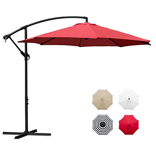 Sunnyglade 10' Outdoor Adjustable Offset Cantilever Hanging Patio Umbrella (Red)
