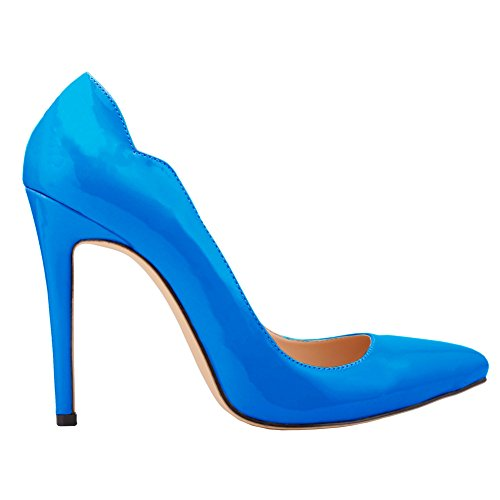 Fereshte Womens Elegant Pointed-toe Slip On High Heels OL Pumps Blue XteDY