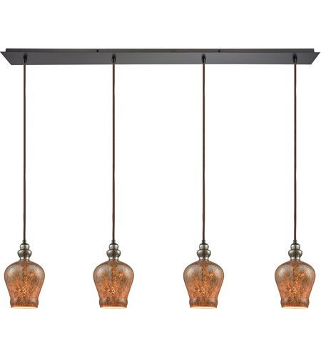 Pendants 4 Light With Oil Rubbed Bronze Finish Black Chrome Plated with Fiery Lava Tones Medium Base 46 inch 240 Watts - World of Lamp (Providence Four Light)