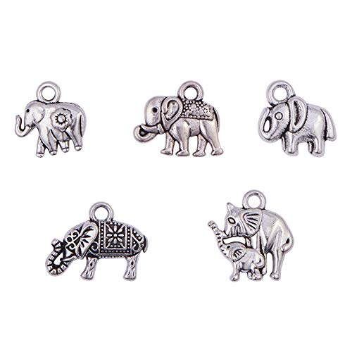 PH PandaHall 100pcs 5 Styles Antique Silver Tibetan Alloy Animal Elephant Charms Pendants Lucky Beads Charms for DIY Bracelet Necklace Jewelry Making