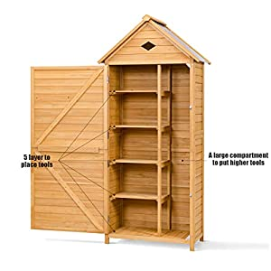 COSTWAY Wooden Garden Shed, 5 Shelves Tool Storage Cabinet with Lockable Double Doors and Slope Roof, Waterproof Utility Sheds for Outdoor Home, 80 x 45 x 177cm