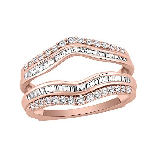 3/4 Ct Round & Baguette Shape Natural Diamond 14K Rose Gold Wrap Enhancer Engagement Ring - Baguette 0.75 Diamond Ct