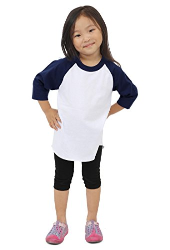 Hat and Beyond Kids Raglan 3/4 Sleeves Baseball T Shirts Baby 5KSA0001 (L (8-9 Yrs 9T), 5ks01_White/Navy)