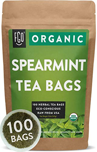 Organic Spearmint Leaf Tea Bags | 100 Tea Bags | Eco-Conscious Tea Bags in Foil Lined Kraft Pouch | Raw from USA | by -