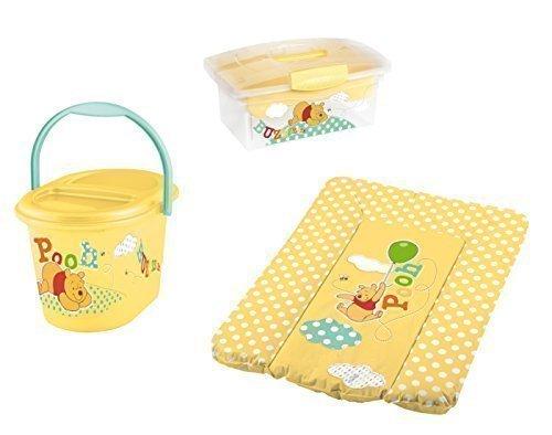 Disney Wickelauflage 70 x 50 + Windeleimer + Traveller Box gelb Winnie Pooh Mülleimer Wickelunterlage OKT Kids
