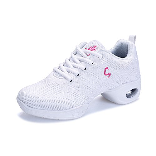 Womens Walking Shoes Dance Sneaker Ladies Lace-Up Trainers Sneakers White
