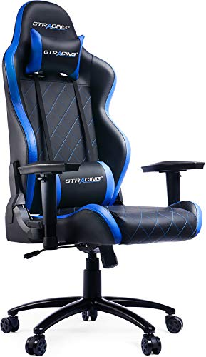 GTRACING Gaming Chair Racing Office Computer Chair Heavy Duty Metal Base Ergonomic Seat Height Adjustment Recliner Swivel Rocker with Headrest Lumbar Pillow E-Sports Chair Blue